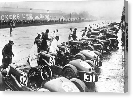 Racecar Drivers Canvas Print - Running Race Start by Underwood Archives