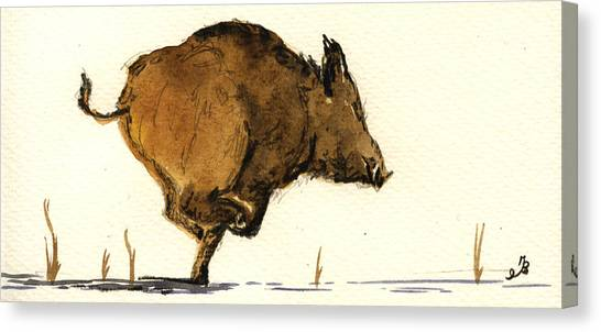 Hogs Canvas Print - Running Wild Boar by Juan  Bosco