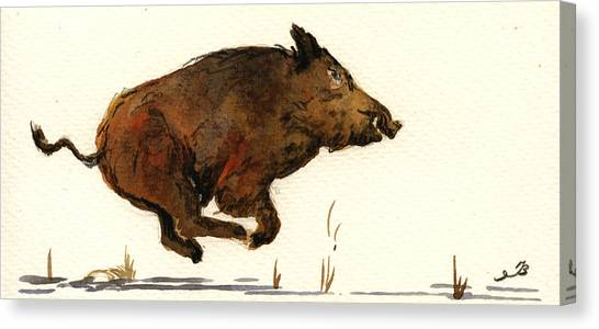 Hogs Canvas Print - Running Wildboar by Juan  Bosco