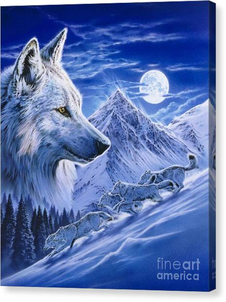 Wolf Moon Canvas Print - Running With The Pack by Robin Koni