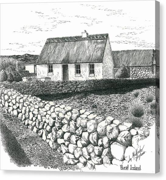 Rural Irish Cottage Canvas Print By Jimmy McAlister