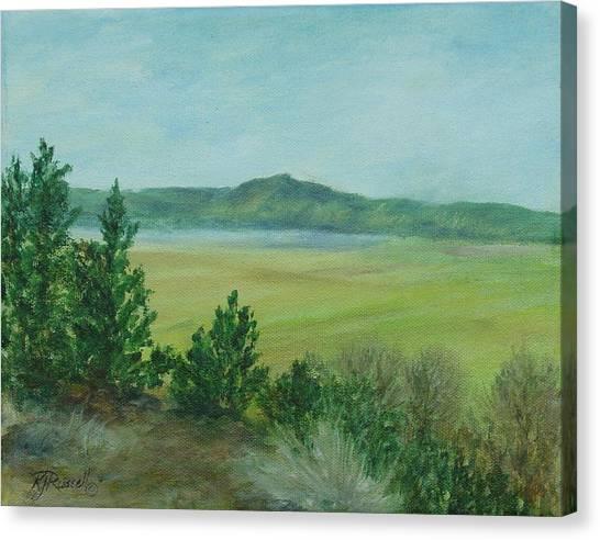 Rural Landscape Art Original Colorful Oil Painting Swan Lake Oregon  Canvas Print