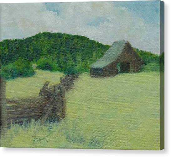Rural Landscape Colorful Oil Painting Barn Fence Canvas Print