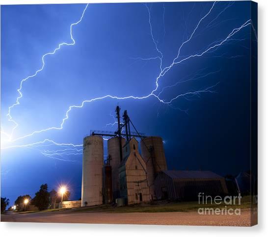Rural Lightning Storm Canvas Print