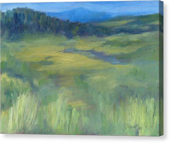 Rural Valley Landscape Colorful Original Painting Washington State Water Mountains K. Joann Russell Canvas Print