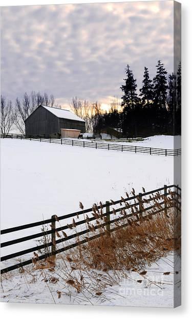 Sun Set Canvas Print - Rural Winter Landscape by Elena Elisseeva