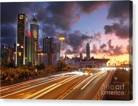 Hongkong Canvas Print - Rush Hour During Sunset In Hong Kong by Lars Ruecker
