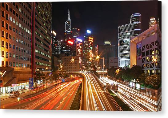 Hong Kong Canvas Print - Rush Hour In Hong Kong by Lars Ruecker