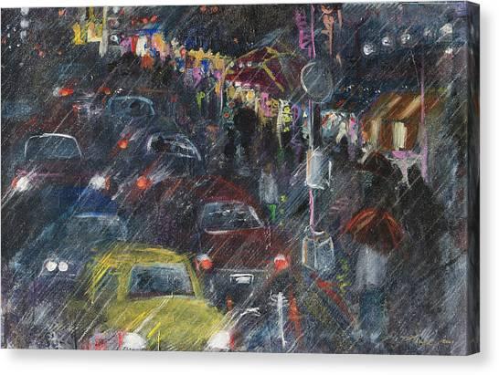 Rush Hour Rain  Canvas Print