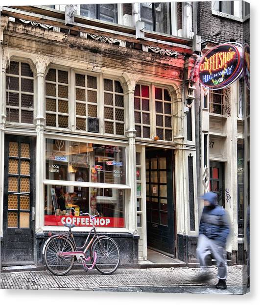 Rushing Past The Amsterdam Kafe Canvas Print