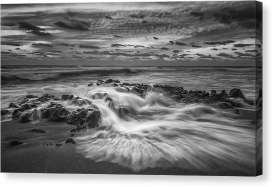 Beach Sunrises Canvas Print - Rushing Tide by Mike Lang