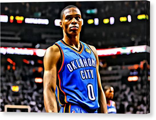 Russell Westbrook Canvas Print - Russell Westbrook Portrait by Florian Rodarte