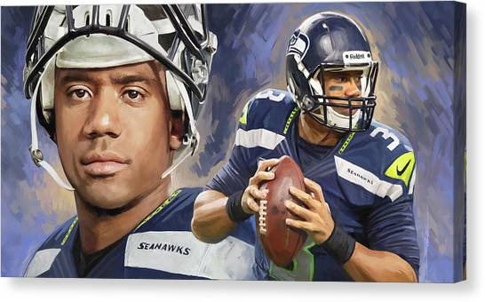 Seattle Seahawks Canvas Print - Russell Wilson Artwork by Sheraz A