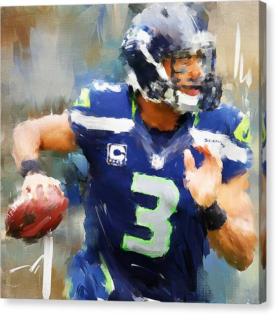 Sport Art Canvas Print - Russell Wilson by Lourry Legarde