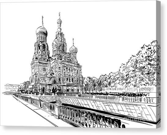 Pencil Art Canvas Print - Russia. Saint Petersburg.savior On by Romanya