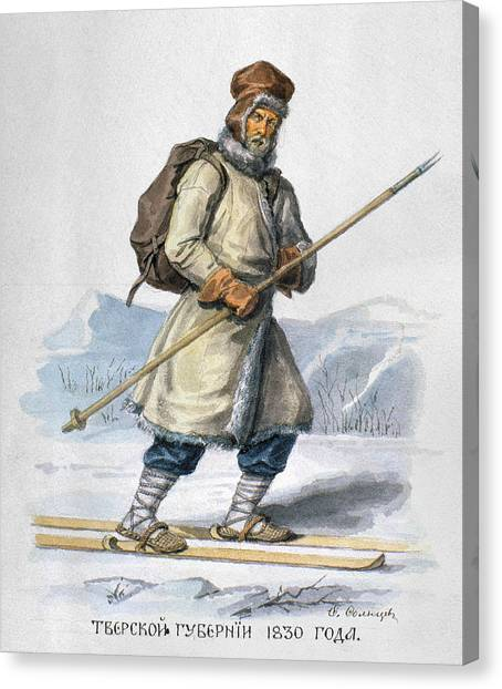 Carousel Collection Canvas Print - Russia Skier, 1830 by Granger
