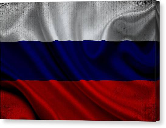 Russian Flag Waving On Canvas Canvas Print