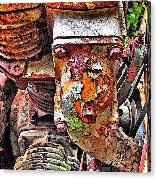 Equipment Canvas Print - Rust And Paint Chips #rustythursday by Cynthia Post