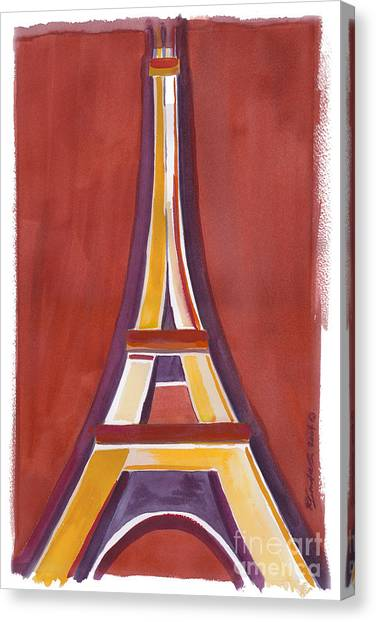 Rust Yellow Eiffel Tower Canvas Print