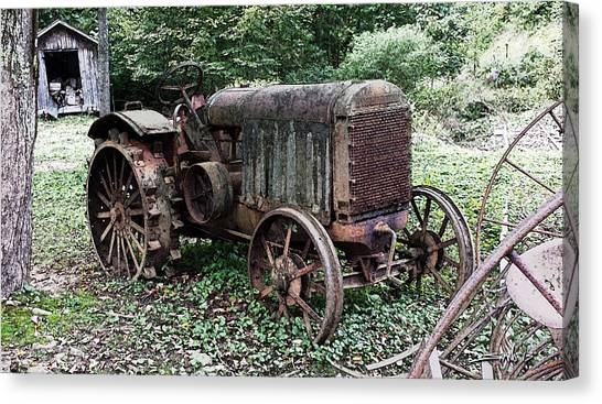 Rusted Mc Cormick-deering Tractor And Shed Canvas Print