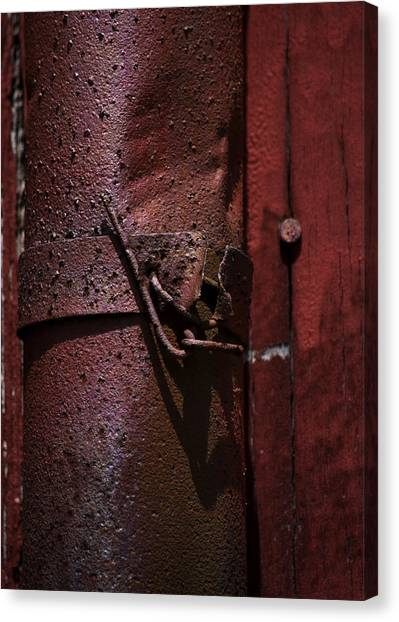 Drain Pipe Canvas Print - Rusted Pipe And Red Barn 2 by Rebecca Sherman