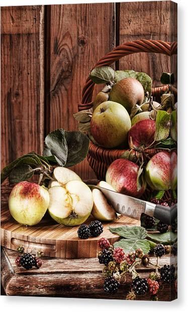 Blackberries Canvas Print - Rustic Apples by Amanda Elwell