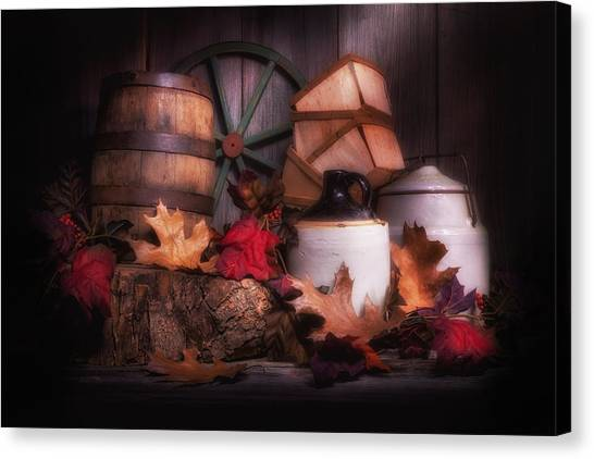 Keg Canvas Print - Rustic Fall Still Life by Tom Mc Nemar