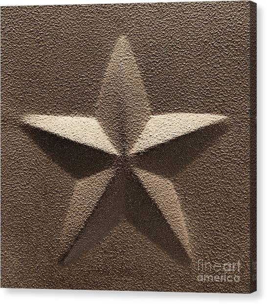 American Steel Canvas Print - Rustic Five Point Star by Olivier Le Queinec