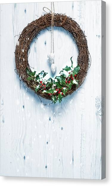 Wreath Canvas Print - Rustic Holiday Garland by Amanda Elwell