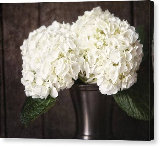 Rustic Hydrangea In A Bronze Vase With Barnwood Canvas Print by Lisa Russo