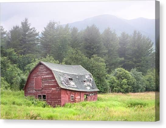Rustic Landscape - Red Barn - Old Barn And Mountains Canvas Print