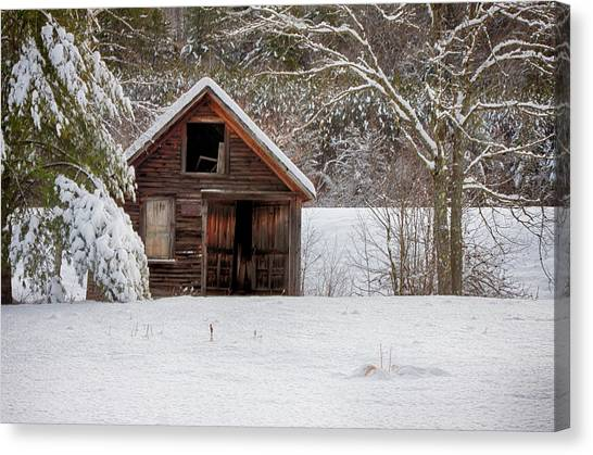 Rustic Shack In Snow Canvas Print