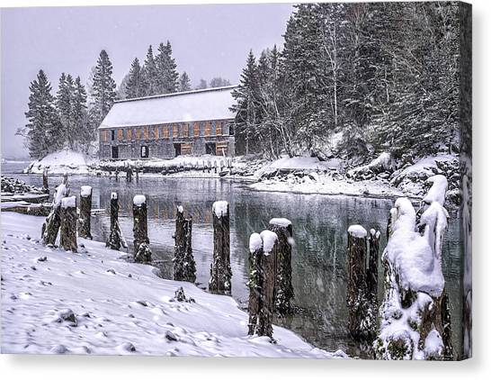 Smokehouses Canvas Print - Rustic Smokehouse Snowscape by Marty Saccone