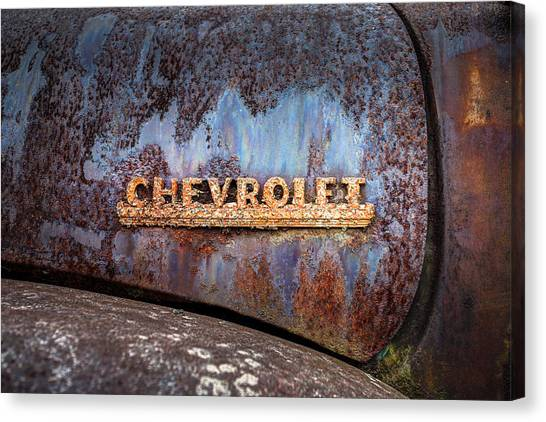 Rusty Chevrolet - Nameplate - Old Chevy Sign Canvas Print