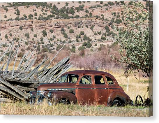 Bishop Hill Canvas Print - Rusty Chevrolet Special Deluxe In Manila Utah by Kathleen Bishop