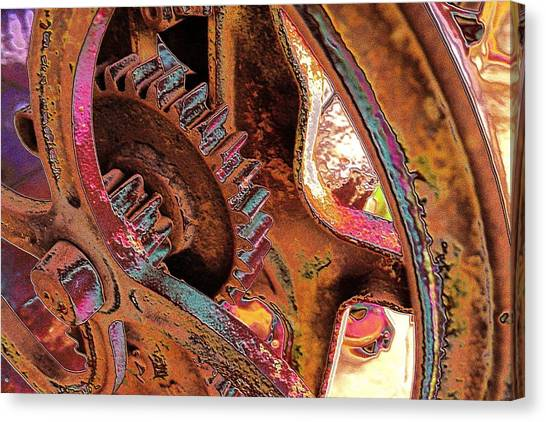 Canvas Print featuring the photograph Rusty Neon Cog by David Rich