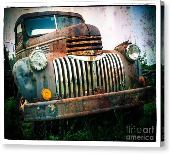 Chevy Pickup Canvas Print - Rusty Old Chevy Pickup by Edward Fielding