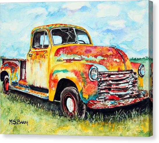 Rusty Truck Canvas Print - Rusty Old Truck by Maria Barry