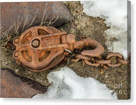 Rusty Pulley And Chain Canvas Print