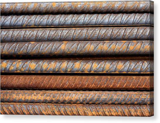 Rusty Rebar Rods Metallic Pattern Canvas Print
