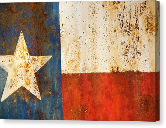 Austin Texas Canvas Print - Rusty Texas Flag Rust And Metal Series by Mark Weaver