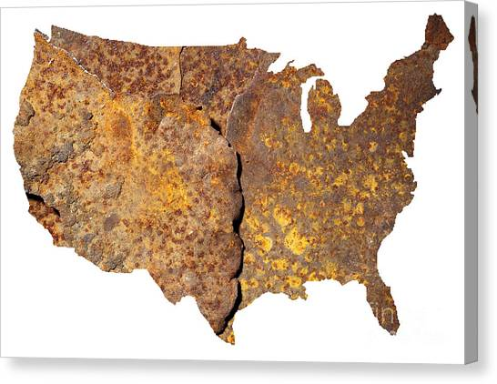 Contour Canvas Print - Rusty Usa Map by Tony Cordoza