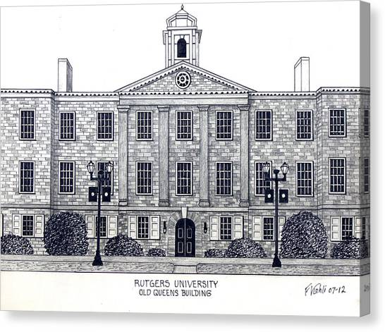 Pen And Ink Drawing Canvas Print - Rutgers University by Frederic Kohli