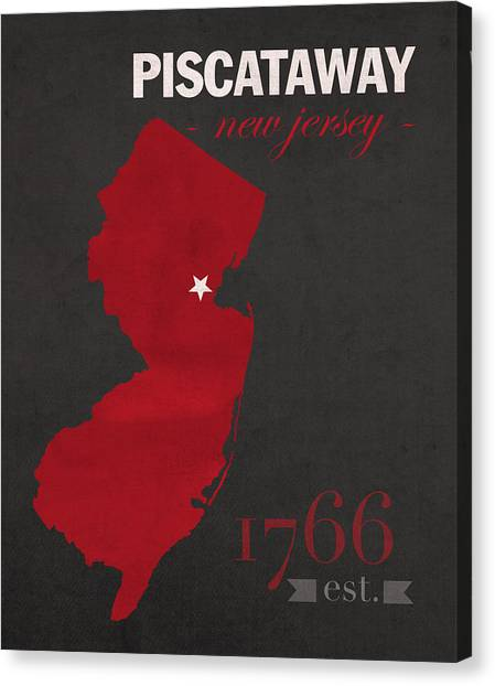 Big Ten Canvas Print - Rutgers University Scarlet Knights Piscataway Nj College Town State Map Poster Series No 092 by Design Turnpike