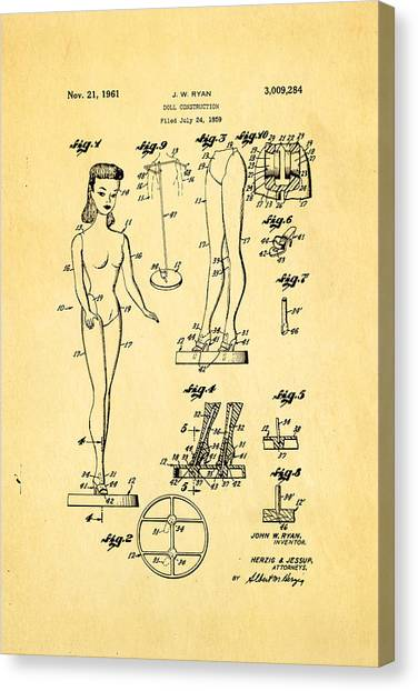 Household Canvas Print - Ryan Barbie Doll Patent Art 1961 by Ian Monk