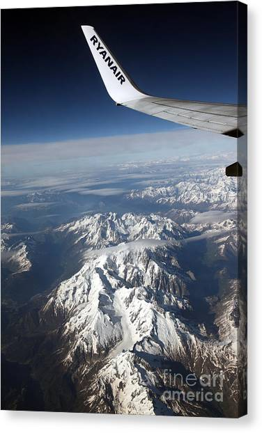 Ryanair Over The Alps Canvas Print by Ros Drinkwater