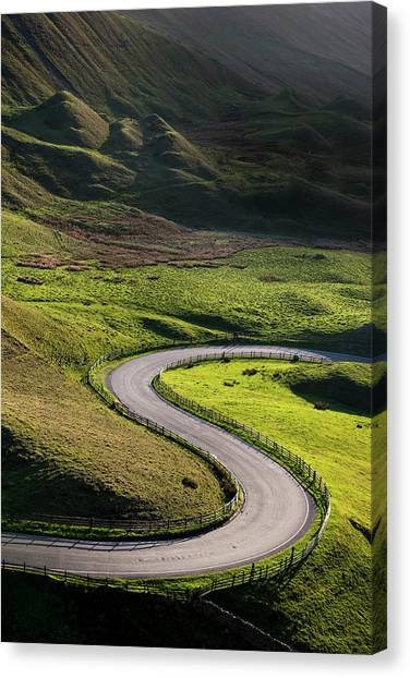 S Shaped Bend On A Country Road Canvas Print by Photos By R A Kearton
