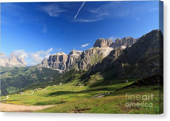 Saas Pordoi And Fassa Valley Canvas Print