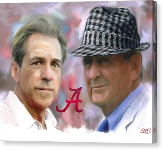 Alabama Canvas Print - Saban And Bear by Mark Spears