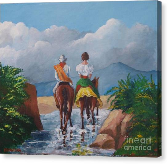 Sabanero And Wife Crossing A River Canvas Print